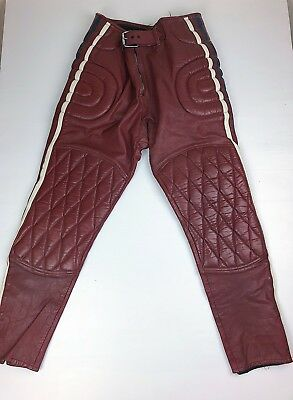 Vintage Motorcycle Leather Pants Cafe Racer Racing Mate Red/White/Blue