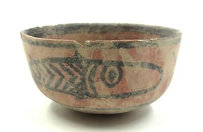 Authentic Ancient Indus Valley Terracotta Bowl W/ Fish Motif - L324