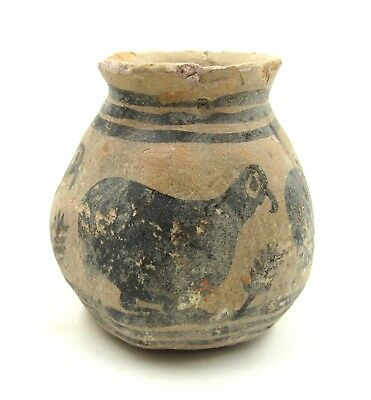 Authentic Ancient Indus Valley Terracotta Jar W/ Birds - L326