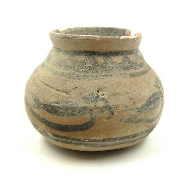 Authentic Ancient Indus Valley Terracotta Jar W/ Birds - L327