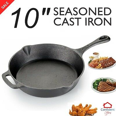 CAST IRON SKILLET Pre Seasoned Frying Cookware Pot Oven Cooking 12 Inch Fry Pan
