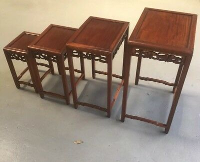 Chinese Antique Rosewood Nest 4 Tables