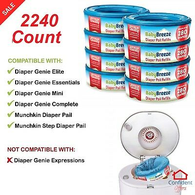 DIAPER PAIL REFILL 1080 Count 7 Layer Block Odor Control Baby Waste Bags 4 Pack