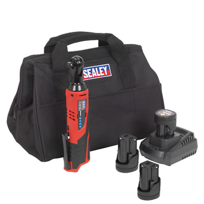 """Sealey CP1202KIT Ratchet Wrench Kit 3/8""""Sq Drive - 2 Batteries, Charger & Bag"""