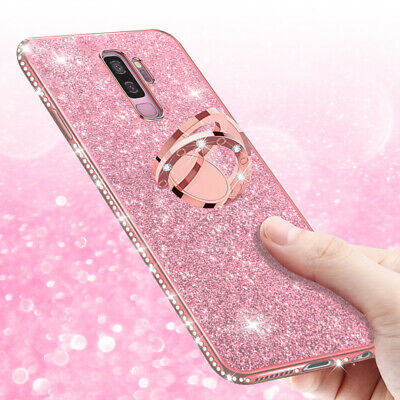 For Samsung S10 5G S9 S8 Note 9 Case Glitter Diamonds Ring Holder Soft TPU Cover