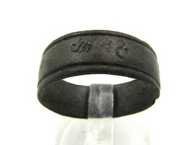 Authentic Post Medieval Bronze Ring W/ Script - G645