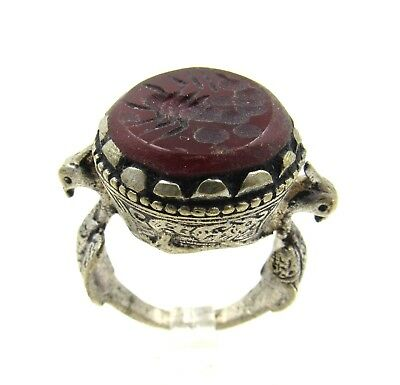 Authentic Post Medieval Silver Ring W/ Intaglio Carnelian Stone Scorpion - G646