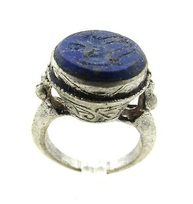 Authentic Post Medieval Silver Ring W/ Intaglio Lapis Beast - Wearable - G647