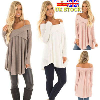 UK Women Long Sleeve Strappy Tops Knitted Sweater Jumper Pullover Autumn Casual