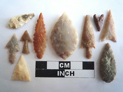 Neolithic Arrowheads x 10, High Quality Selection of Styles - 4000BC - (2119)
