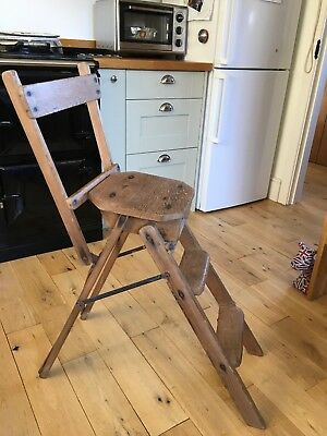 Antique Pine Chair/Steps Rustic Style