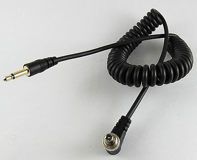1Ft 30CM Gold 3.5mm Male Plug to Angle Male Flash PC Sync Cord Retractable Cable