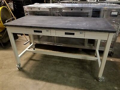 "Lab Crafters Laboratory Mobile work Station 2 drawers Slab Top 66"" x 30"" x 36"""