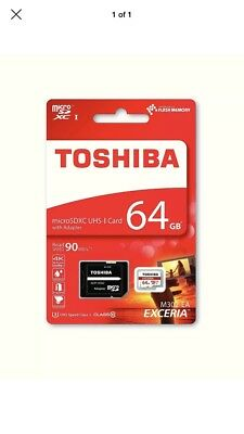 64GB Toshiba Exceria Micro SD SDXC Memory Card 90MB/s with SD Card Adapter 64GB
