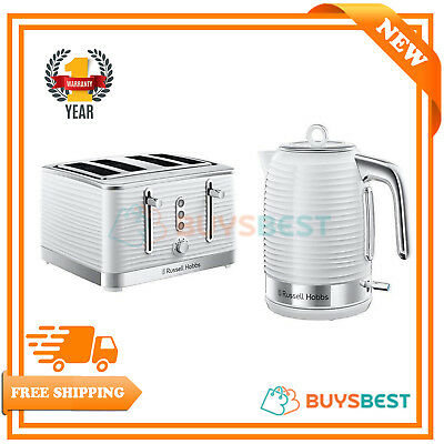 Russell Hobbs Inspire 1.7 L Electric Jug Kettle & 4 Slice Toaster Set - White
