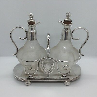 Vintage Twin Glass & Silver Plated Sauce Bottles On A Stand