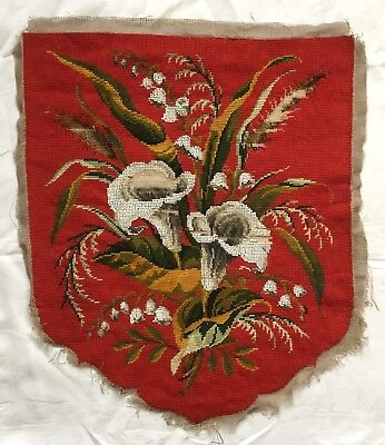 A Lovely Victorian Beadwork And Tapestry Banner, Panel, Fire Screen. Arum Lilies