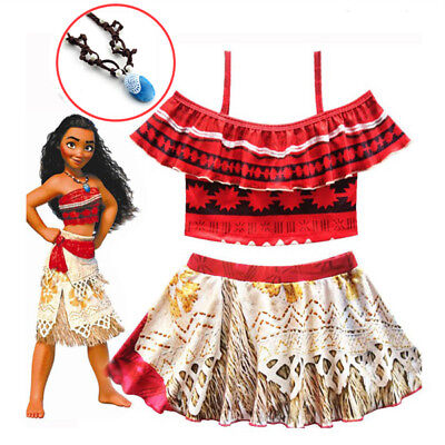 Girls MOANA + FREE Necklace Costume FANCY DRESS Cosplay Party Kids Birthday 3-10