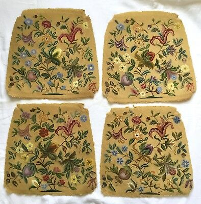 4 Lovely Floral Needlepoint Tapestry Chair Or Cushion Panels Jacobean Style?