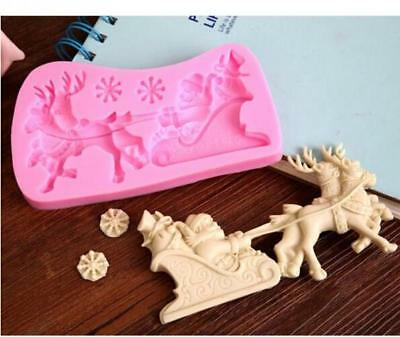 Father Christmas, Reindeer + Sleigh silicone mould Cake Icing Xmas Santa Claus