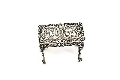 A Nice Antique Victorian C1911 Solid Silver Decorative Miniature Table