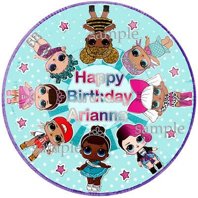 LOL surprise Round Edible Birthday CAKE Image Icing Topper Party Decoration