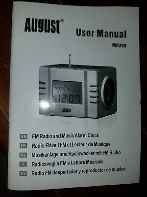 August MB300k Mini Wooden MP3 Stereo System and FM Clock Radio, with Card Reader