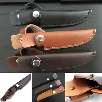 Straight Military Leather Belt Sheath Scabbard Case Bag Cover Fixed Knife Blade