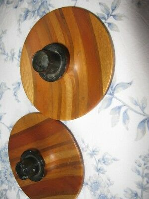 Woodenware -    New Zealand Timbers  Pair of circular candle holders.  Unboxed