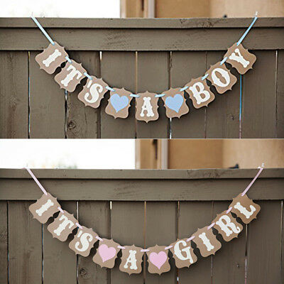 It's a Boy Girl Baby Shower Banner Party Bunting Garland Photo Props Decor Sign