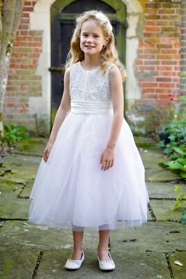 SALE-Ivory & Silver Tulle Flower Girl Bridesmaid Dress 6mths-7yrs