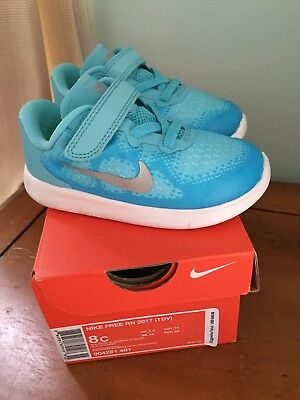 633f2da6051b Nib Nike Free Rn Size 8 Toddler Girls Shoes Polarized Blue Metallic Silver