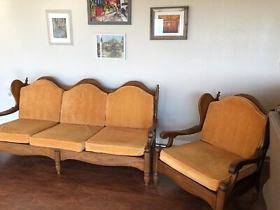 vintage retro wood and velour settee and chair set
