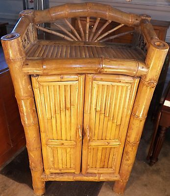 Vintage Handmade Big Bamboo Cabinet use poolside Liquor bar towels