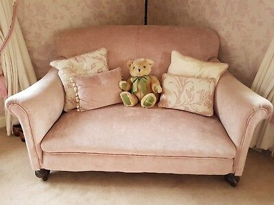 Antique Victorian 2 seater Sofa in Laura Ashley villandry chalk pink fabric