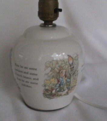 VTG Peter Rabbit Lamp Nursery Decor Wedgwood Beatrix Potter England