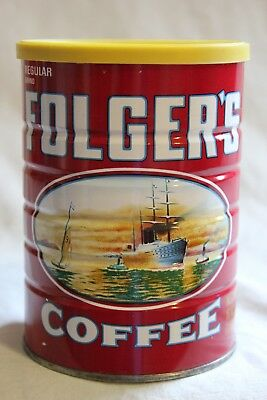 Vintage Folgers Coffee Can Tin 1 Lb