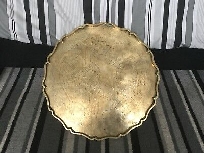 Chinese Tray Engraved Old Vinatge Brass