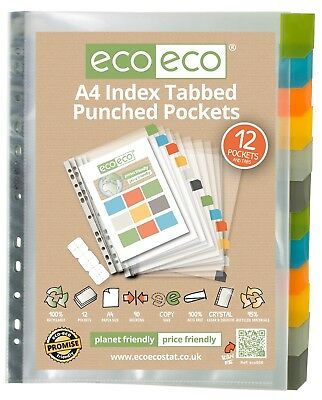 A4 12 Pockets Dividers Index Tab Contents Cover Punch Pocket File Premium Ecoeco
