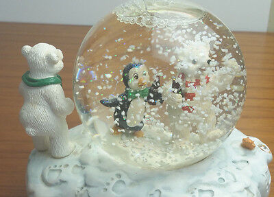 Coke Snowglobe Vintage Coca Cola 1998 Polar Bear Cub Figurines Musical Wind Up