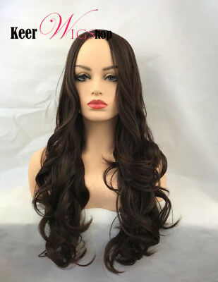 New Women Long Wavy Hairstyle Dark Brown Color Simulation Scalp Synthetic Wigs