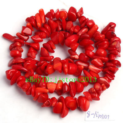 6-8mm Red Natural Coral Freeform Gravel DIY Gemstone Loose Beads Strand 16""