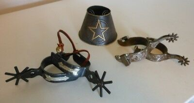 Western Cowboy Cowgirl Hom Decor Spurs Rowels Texas Star Candle topper