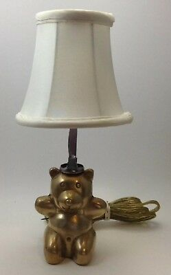 Vintage Small Brass Teddy Bear Lamp Night Light with Shade