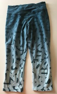 Womens Nike Dri Fit Blue Ombre Symbol Printed Cropped Athletic Leggings Size XS