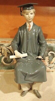 """Lladro #5198 """"Boy Graduate"""" young male w cap, gown & diploma LARGE - MWOB,RV$395"""