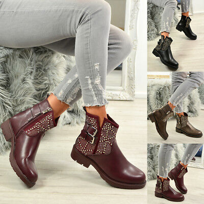 Ladies Womens Ankle Boots Studded Side Zip Low Heel Buckle Casual Shoes Sizes