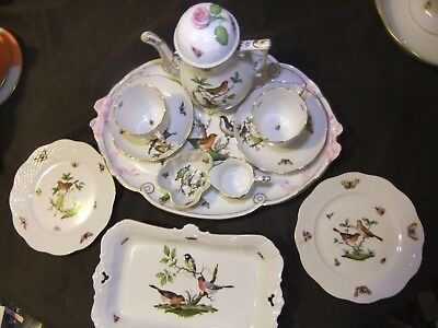 Herend Rothschild Bird Romantic Extended Coffee for Two Set in Mint Condition
