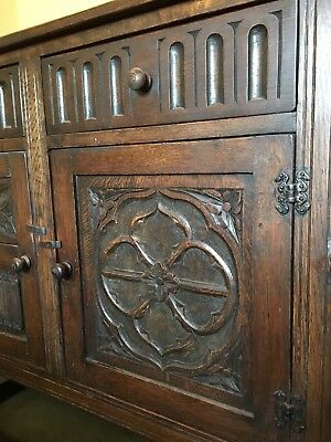 Large Antique Sideboard - Solid Oak - Ornate Carving - Good Condition