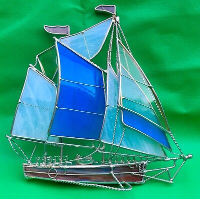"""Charming Art Deco Style Boat.  Desk Ornament - Height = Approx 9"""""""